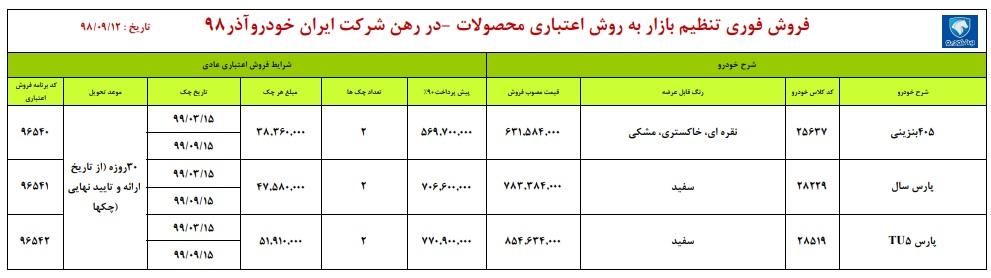 فروش اقساطی محصولات ایران خودرو در ۱۲ آذر ۹۸