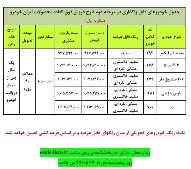 شرایط فروش فوق العاده ایران خودرو مرحله دوم ۹ مرداد ۹۹ - قیمت طلا | قیمت سکه