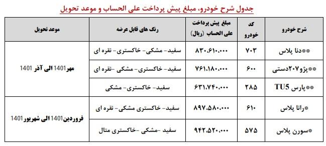 پیش فروش ایران خودرو آذر 99